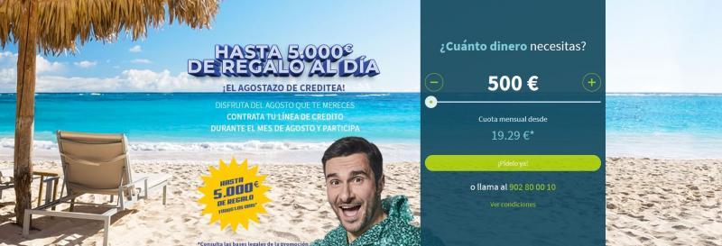 Creditea sorteará 14 premios de hasta 5.000€ entre sus clientes hasta el 15 de julio de 2018